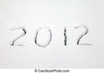 2012, escrito, em, neve