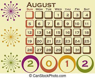 2012, estilo retro, calendario, conjunto, 1, agosto