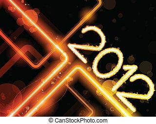 2012, giallo, linee, fondo, neon, laser