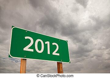 2012, grön, vägmärke, över, stormmoln