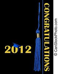 2012 Graduation - Blue cap and tassel on black for 2012...