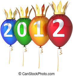 2012 Happy New Year balloons royal