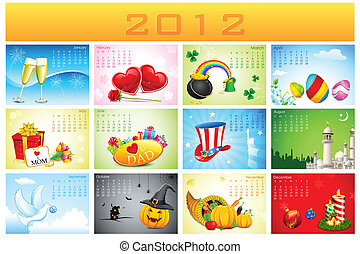 illustration of complete calendar for 2012 showing different holidays