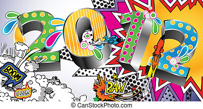 2012 in a Colorful Comic Book Style