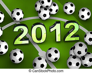 2012 in the middle with many soccerballs - 2012 in the...