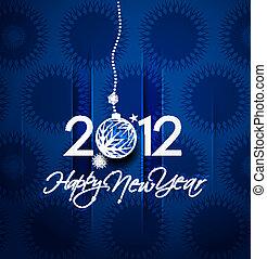 2012, jaar, nieuw, poster