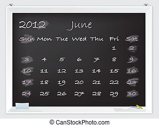 2012 June calendar