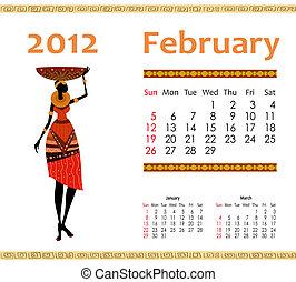 2012, kalender, vrouw, afrikaan