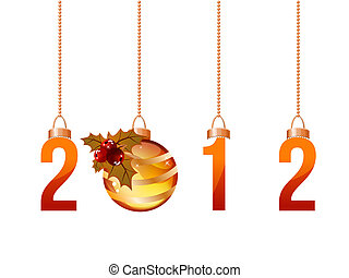 2012 made of hanging Christmas decorations isolated on white