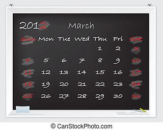 2012 March calendar