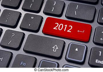 2012, neu , begriffe, jahr, tastatur
