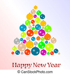 2012 New year background with christmas tree from balls