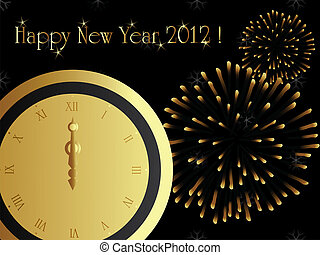 2012 new year card with firework and midnight clock