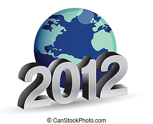 2012 New Year concept with blue