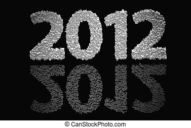 2012 new year modeled with tridimensional blocks over the...