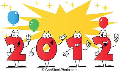 2012 New Year Numbers Cartoon