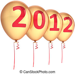 2012 New Year party balloons golden