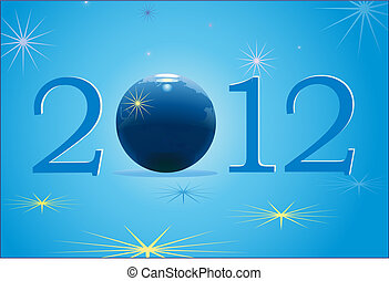 2012 New Year with blue globe - Symbols of 2012 New Year...