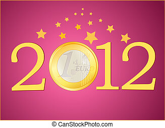 2012 New Year with Euro coin - Symbols of 2012 New Year with...