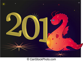 2012 New Year with red dragon
