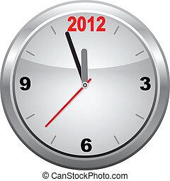 2012, nouveau, horloge, année