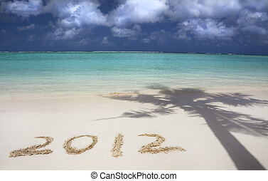 2012 on the beach of tropical island