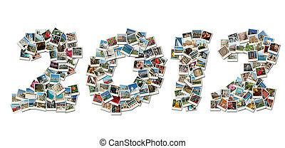 2012, pf, 卡片, 拼貼藝術, 做, ......的, 旅行, 相片, 由于, 著名, 界標, ......的, 以色列
