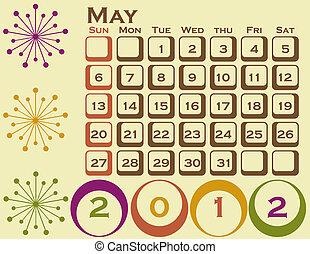 2012, retro stijl, kalender, set, 1, mei