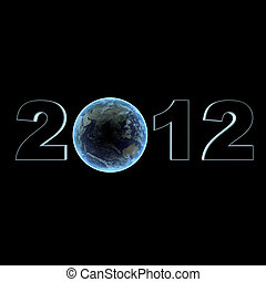 a picture of the year 2012 with the earth in the middle.