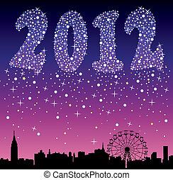 2012, urbain, vacances, fond