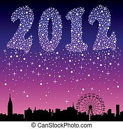 2012, urbano, feriado, fundo