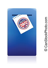 2012 voting paper in a blue ballot box