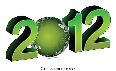 2012 with christmas bauble illustration