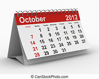 2012 year calendar. October. Isolated 3D image