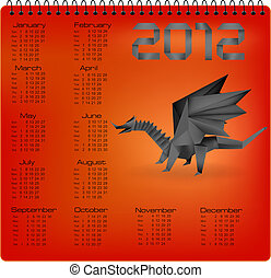 2012 year calendar with origami