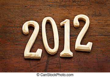 2012 year in wood letters