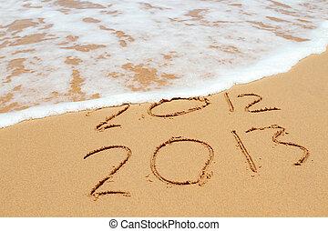 2013, år, sandet, strand, nära, den, ocean., 2012, är,...