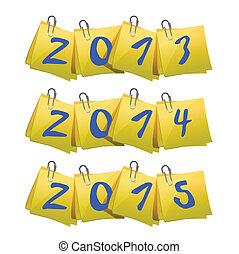 2013, メモ, 付せん, 年, 2015, 新しい, 2014