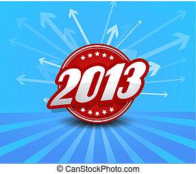2013, 標簽, 上, 藍色的背景, 由于, arrows.
