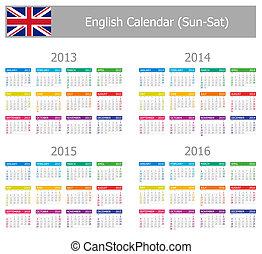 2013-2016 Type-1 English Calendar