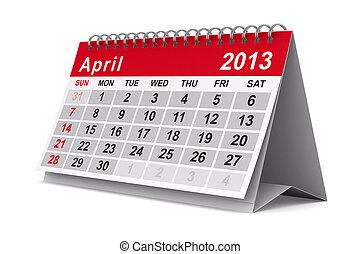 2013, anno, calendar., april., isolato, 3d, immagine