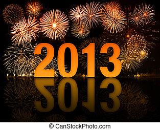 2013, ano, celebração, com, fogos artifício