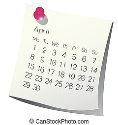 2013 April calendar