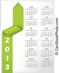 2013 arrow shaped green ribbon calendar - 2013 calendar with...
