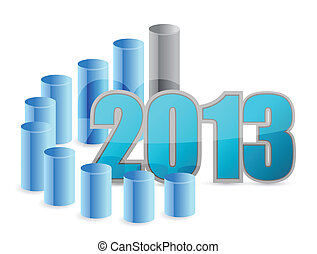 2013 business graph illustration design over a white ...