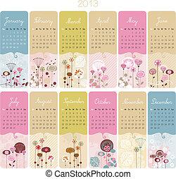 2013, calendário, jogo