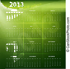 2013 calendar bright colorful green vector background