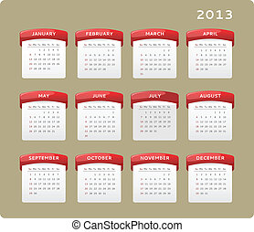 2013 Calendar - Calendar of year 2013, week starts on Sunday