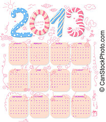2013 Calendar - Calendar of year 2013 with cute childish...