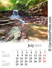 2013 Calendar. July. Beautiful summer landscape in the forest with waterfall.
